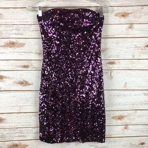 Strapless Sequins Dress Dark Purple Size S